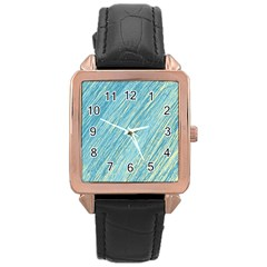 Light Blue Pattern Rose Gold Leather Watch  by Valentinaart