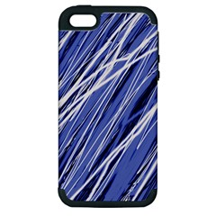 Blue Elegant Pattern Apple Iphone 5 Hardshell Case (pc+silicone) by Valentinaart