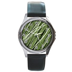 Green Decorative Pattern Round Metal Watch by Valentinaart