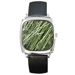 Green Decorative Pattern Square Metal Watch by Valentinaart