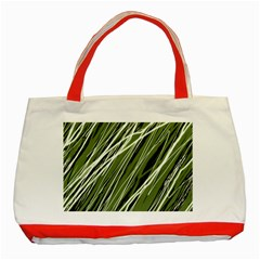 Green Decorative Pattern Classic Tote Bag (red) by Valentinaart