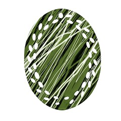 Green Decorative Pattern Ornament (oval Filigree)  by Valentinaart