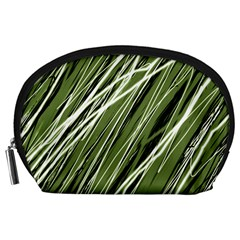 Green Decorative Pattern Accessory Pouches (large)  by Valentinaart
