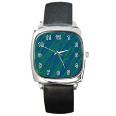 Green Pattern Square Metal Watch by Valentinaart