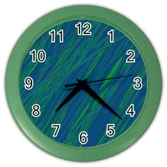 Green Pattern Color Wall Clocks by Valentinaart