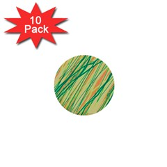 Green And Orange Pattern 1  Mini Buttons (10 Pack)  by Valentinaart