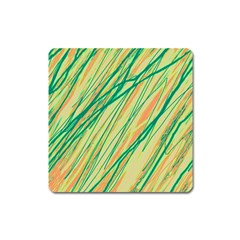 Green And Orange Pattern Square Magnet by Valentinaart