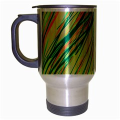 Green And Orange Pattern Travel Mug (silver Gray) by Valentinaart