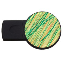 Green And Orange Pattern Usb Flash Drive Round (4 Gb)  by Valentinaart