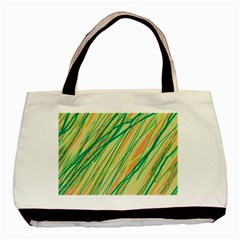 Green And Orange Pattern Basic Tote Bag by Valentinaart
