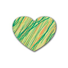 Green And Orange Pattern Heart Coaster (4 Pack)  by Valentinaart