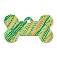 Green And Orange Pattern Dog Tag Bone (two Sides) by Valentinaart