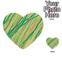Green And Orange Pattern Multi Purpose Cards (heart)  by Valentinaart