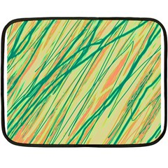 Green And Orange Pattern Fleece Blanket (mini) by Valentinaart