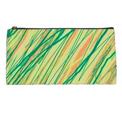 Green And Orange Pattern Pencil Cases by Valentinaart