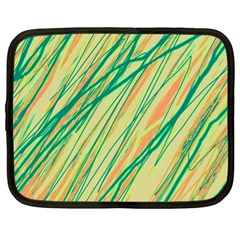 Green And Orange Pattern Netbook Case (xl)  by Valentinaart