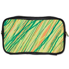 Green And Orange Pattern Toiletries Bags 2 Side by Valentinaart