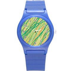 Green And Orange Pattern Round Plastic Sport Watch (s) by Valentinaart