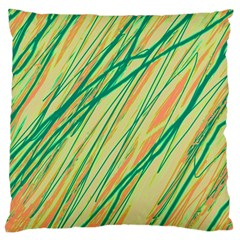 Green And Orange Pattern Large Cushion Case (one Side) by Valentinaart