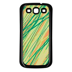 Green And Orange Pattern Samsung Galaxy S3 Back Case (black) by Valentinaart
