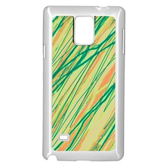 Green And Orange Pattern Samsung Galaxy Note 4 Case (white) by Valentinaart