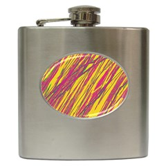 Orange Pattern Hip Flask (6 Oz) by Valentinaart