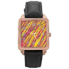 Orange Pattern Rose Gold Leather Watch  by Valentinaart