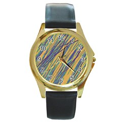 Blue And Yellow Van Gogh Pattern Round Gold Metal Watch by Valentinaart