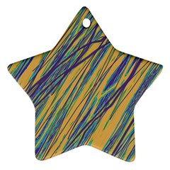 Blue And Yellow Van Gogh Pattern Star Ornament (two Sides)  by Valentinaart