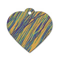 Blue And Yellow Van Gogh Pattern Dog Tag Heart (two Sides) by Valentinaart