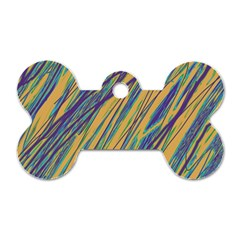 Blue And Yellow Van Gogh Pattern Dog Tag Bone (one Side) by Valentinaart