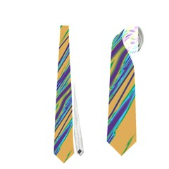 Blue And Yellow Van Gogh Pattern Neckties (two Side)  by Valentinaart