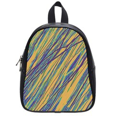 Blue And Yellow Van Gogh Pattern School Bags (small)  by Valentinaart