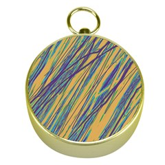 Blue And Yellow Van Gogh Pattern Gold Compasses