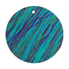 Blue Pattern Ornament (round)  by Valentinaart