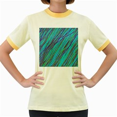 Blue Pattern Women s Fitted Ringer T Shirts