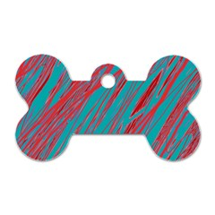 Red And Blue Pattern Dog Tag Bone (one Side) by Valentinaart