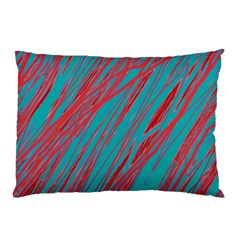 Red And Blue Pattern Pillow Case by Valentinaart