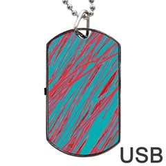 Red And Blue Pattern Dog Tag Usb Flash (one Side) by Valentinaart