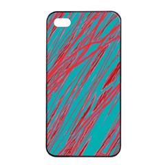 Red And Blue Pattern Apple Iphone 4/4s Seamless Case (black) by Valentinaart
