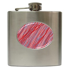 Pink And Red Decorative Pattern Hip Flask (6 Oz) by Valentinaart