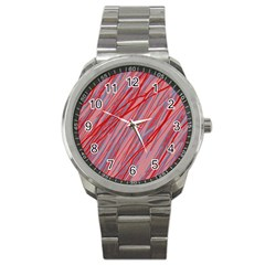 Pink And Red Decorative Pattern Sport Metal Watch by Valentinaart