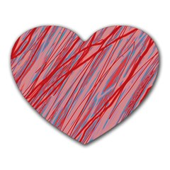 Pink And Red Decorative Pattern Heart Mousepads by Valentinaart