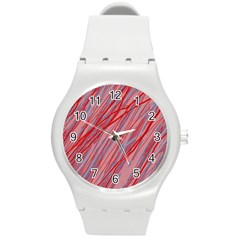 Pink And Red Decorative Pattern Round Plastic Sport Watch (m) by Valentinaart