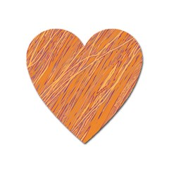 Orange Pattern Heart Magnet by Valentinaart