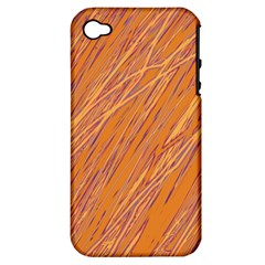 Orange Pattern Apple Iphone 4/4s Hardshell Case (pc+silicone) by Valentinaart