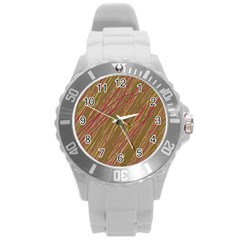 Brown Elegant Pattern Round Plastic Sport Watch (l) by Valentinaart