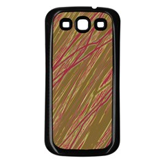 Brown Elegant Pattern Samsung Galaxy S3 Back Case (black)