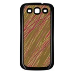 Brown elegant pattern Samsung Galaxy S3 Back Case (Black) Front