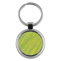Green And Yellow Van Gogh Pattern Key Chains (round)  by Valentinaart